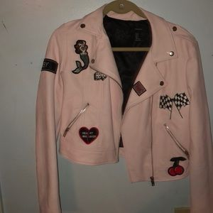 Forever 21 Pink Faux Leather Moto Jacket